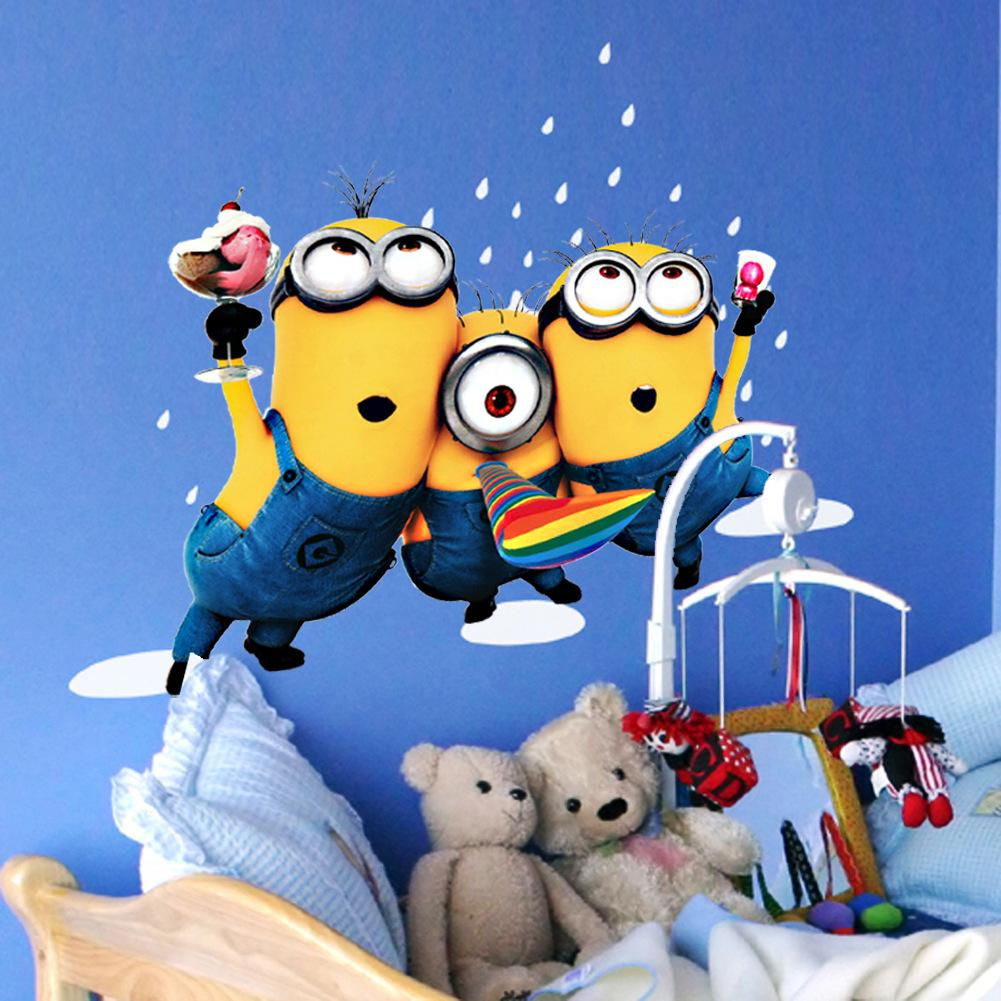 Minions Bedroom Wallpaper Cartoon Small Minions Despicable Me Removable Wall Sticker Diy