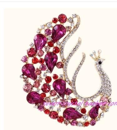 más mujeres de cristal del color pavo real; broche de s (7 * 5.2cm ((myyhmz)