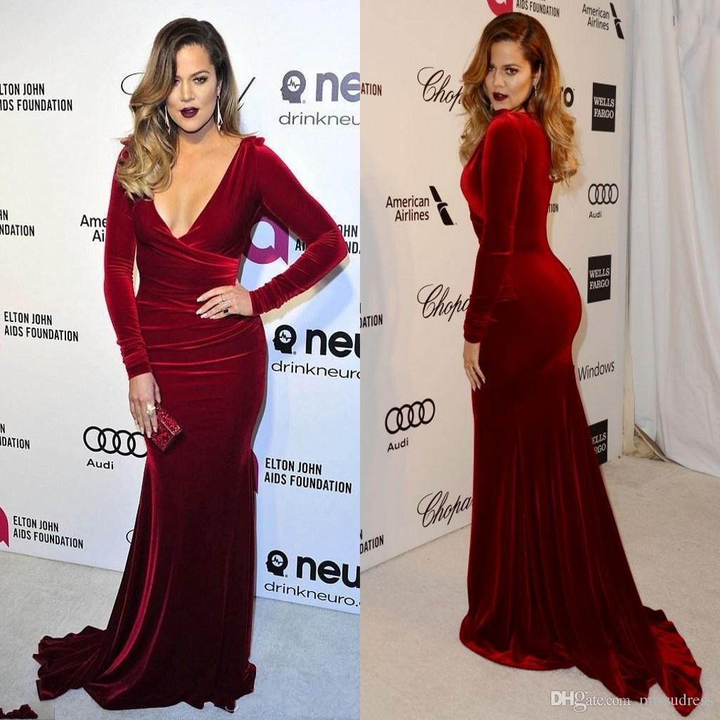 Burgundy V neck Long Sleeve Mermaid Velvet Fabric Evening Dresses High Quality Charming Celebrity Gowns Prom Dress 2014 Custom Made