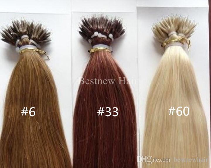 100 الخرز + 100G 18 / 20 / 22 الهندي ريمي الإنسان MICRO NANO RINGS تلميح الشعر الإنسان DHL شحن سريع