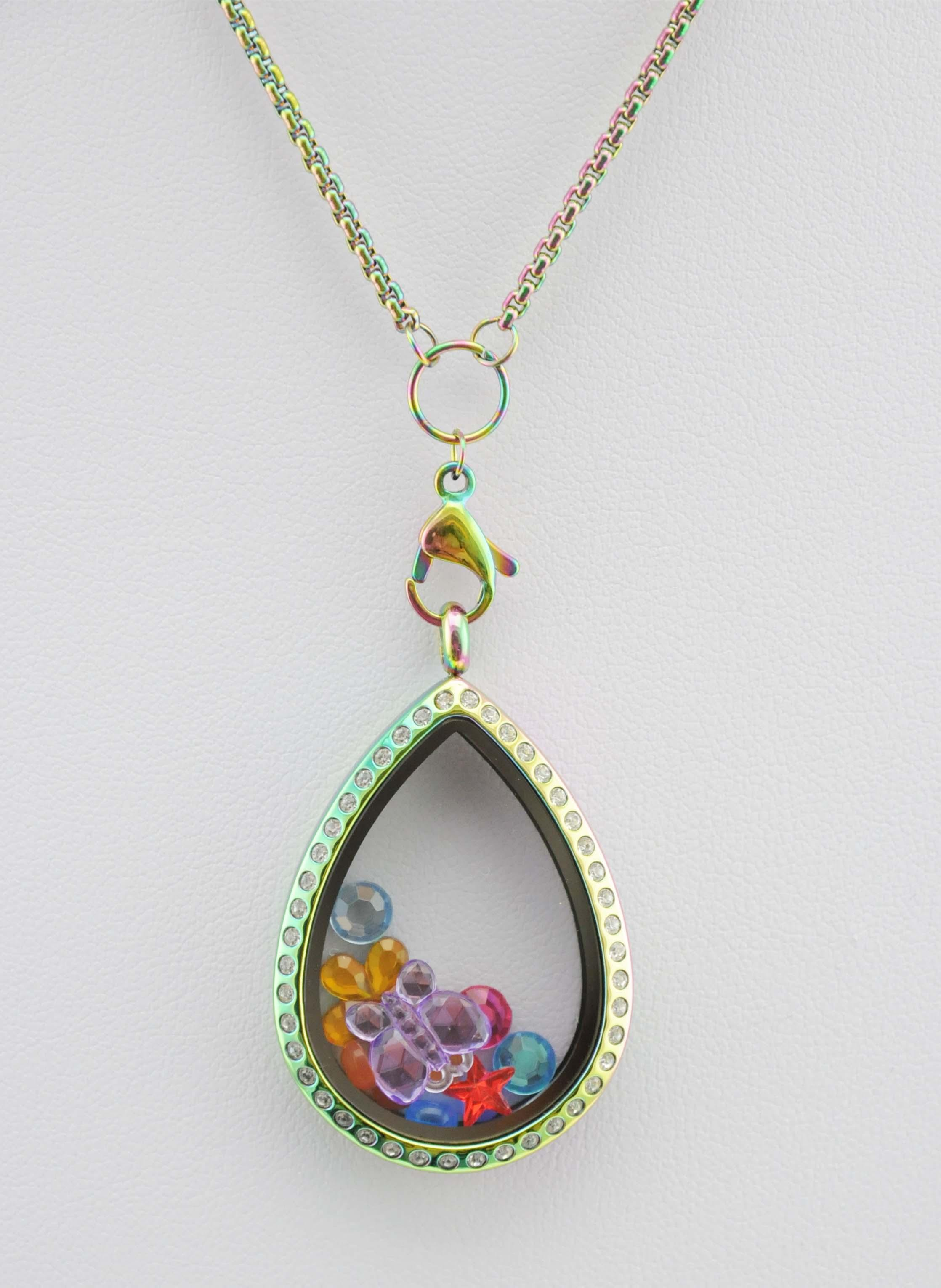 Heißer Verkauf CZ Regenbogen Teardrop Edelstahl Floating Charm Medaillon mit Crystal Magnetic Waterdrop Glass Living Medaillon