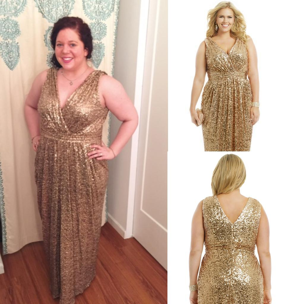Vintage Gold Sequined Plus Size Evening Dresses 2016 Rose Gold Maid Of  Honor Dresses V Neck Sheath Floor Length Sparkly Formal Party Gowns Plus  Size ...