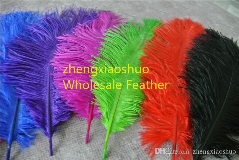 DHL gratis 300 stks / partij struisvogel veer plumes wit, koninklijke bule, roze, geel paars rood, ivoor, fushia, zwart, oranje goud limoen groen turquoise