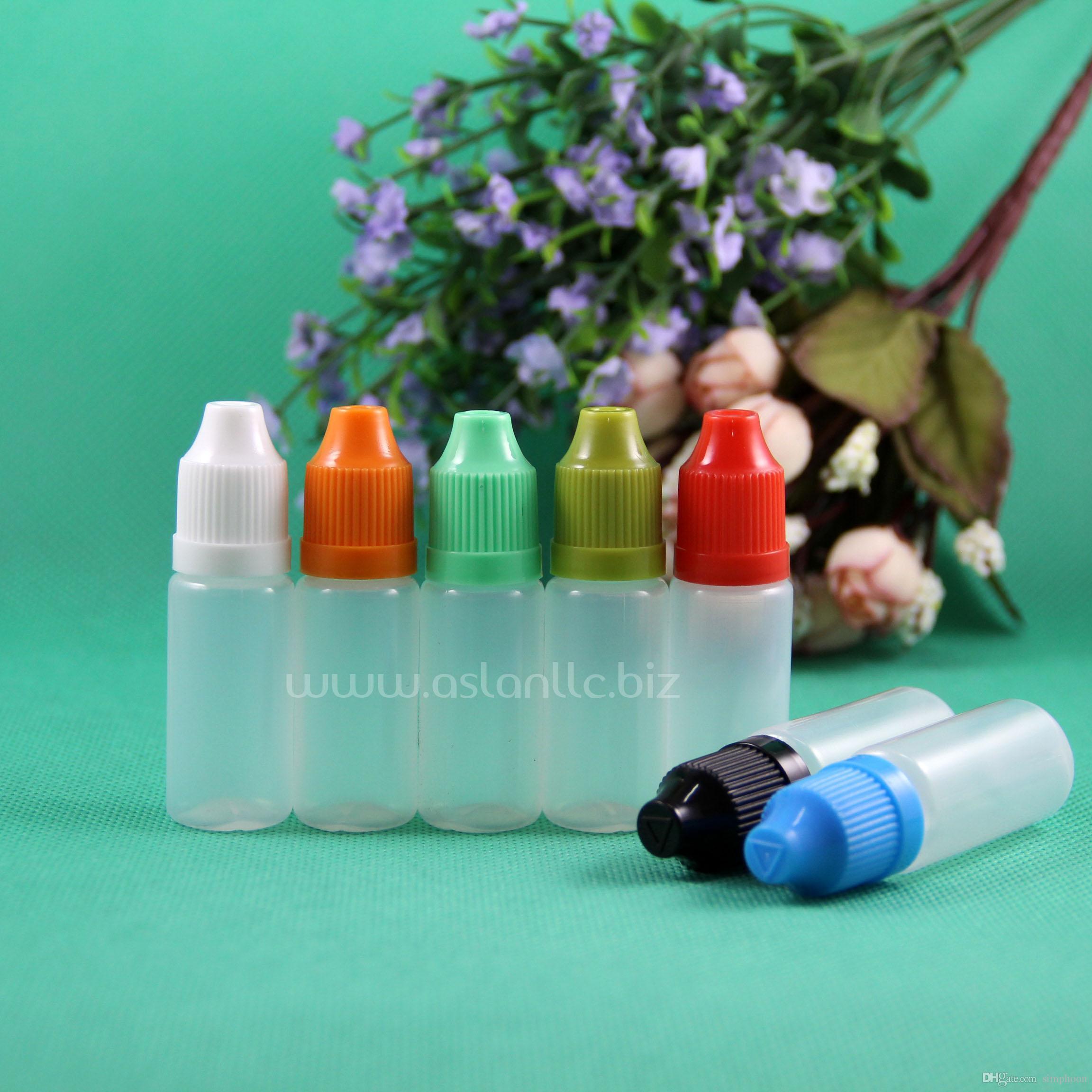 100 مجموعات / وحدة 10 ملليلتر زجاجات البلاستيك بالقطارة الطفل برهان طويلة رقيقة تلميح pe آمنة ل e بخار السائل عصير vapt ليكويد 10 مل