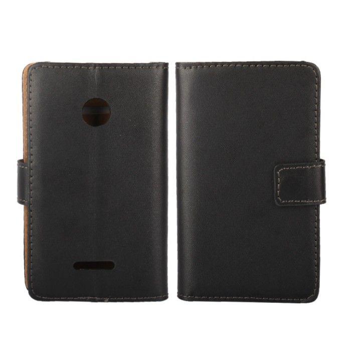 Drop доставка черный цвет натуральная кожа магнитное закрытие задняя крышка чехол для Microsoft Lumia 532 с ID карты держатель