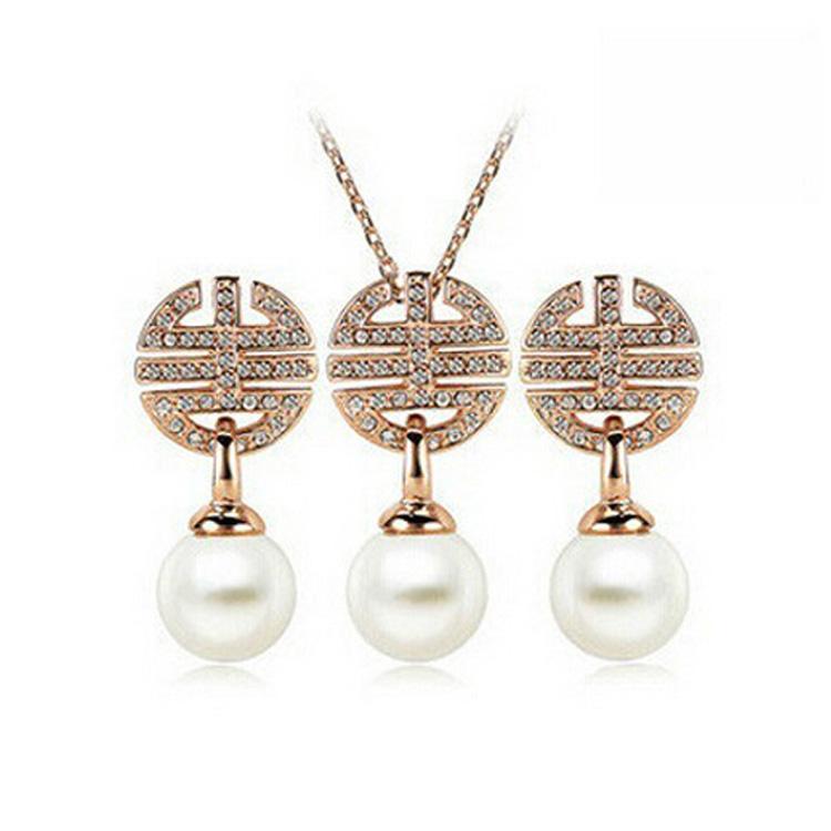 Gli orecchini della collana della perla 18KGP mettono i set di gioielli di cristallo di modo per le donne Migliore insieme dei gioielli fini del regalo 1011