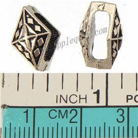 DIY Perlen Für Schnur Breite Lederarmbänder Antikes Silber Überzogene 10mm Diamant Kreuz Gravierte Flaches Loch Metall Schmuckzubehör 14 * 9 * 9mm 200 stücke