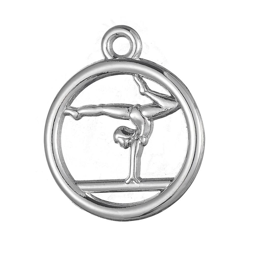 Spedizione gratuita New Fashion Facile da fare 20 pz ginnastica cerchio sportivo fascino gioielli che si adattano per collana o braccialetto