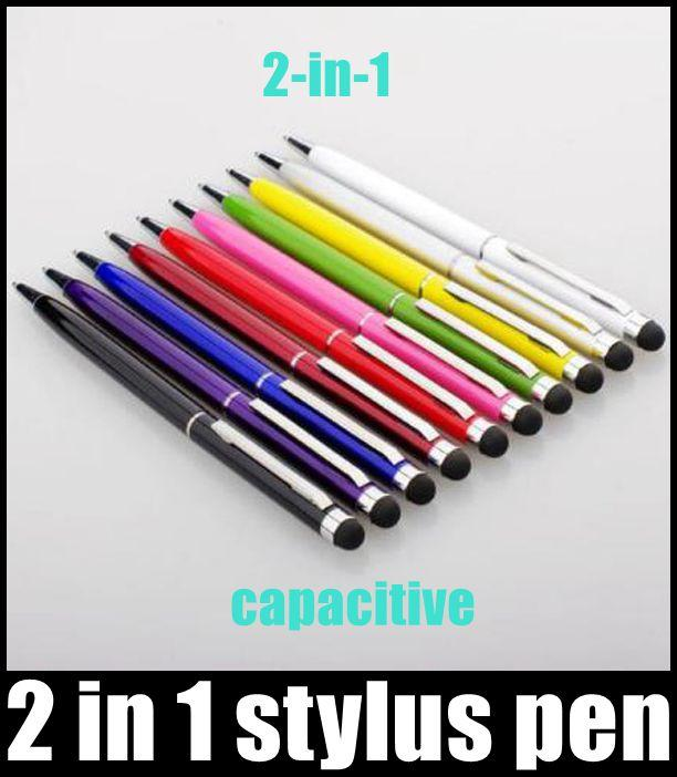 2 in 1 Capacitive stylus pen Touch Screen Stylus and Ball Point Pen for all Smart Cell Phone&Tablet HOT SALE best selling newest DHL STY004