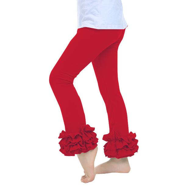 Children's clothing 2017 spring new European and American 100% cotton lace pants solid color pants girl leggings 2 3 4 5 6 years