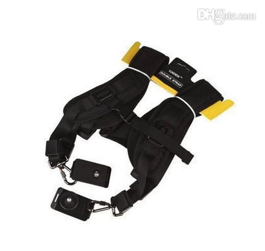 Großhandel - Einstellbare Nylon Double Dual Sling Schulter Nackenband Gürtel für alle SLR DSLR 2 Kameraobjektiv Fernglas