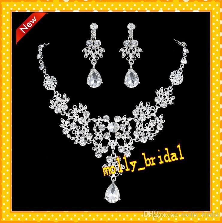 2017 Hot Wedding Tiara Necklace Set Bridal Jewelry Sets Rhinestone