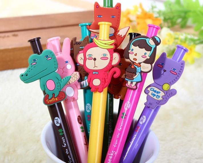 Envío gratis / Cute dibujos animados animales calidad bolígrafo / Regalo para niños / Regalo de promoción / LINDO papelería de estilo coreano / Pluma encantadora / Al por mayor