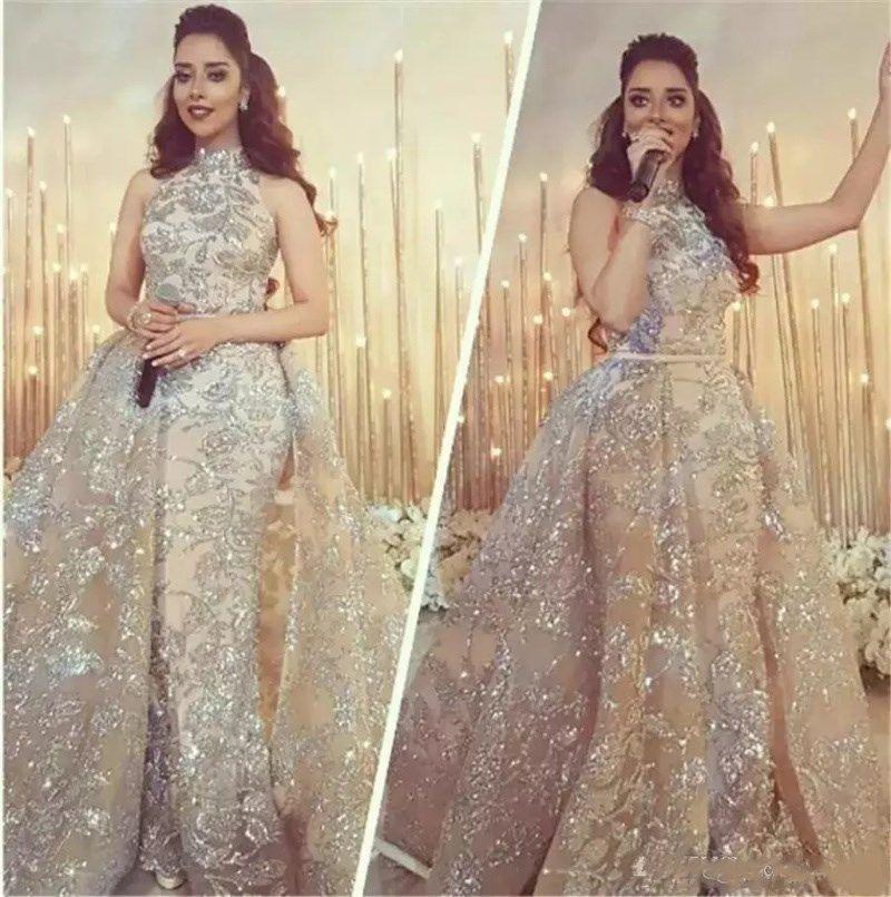 2018 High Neck Mermaid Abendkleider Mit Überrock Prickelnde Spitze Applique Pailletten Dubai Arabisch Abendkleider Abendkleider Nach Maß