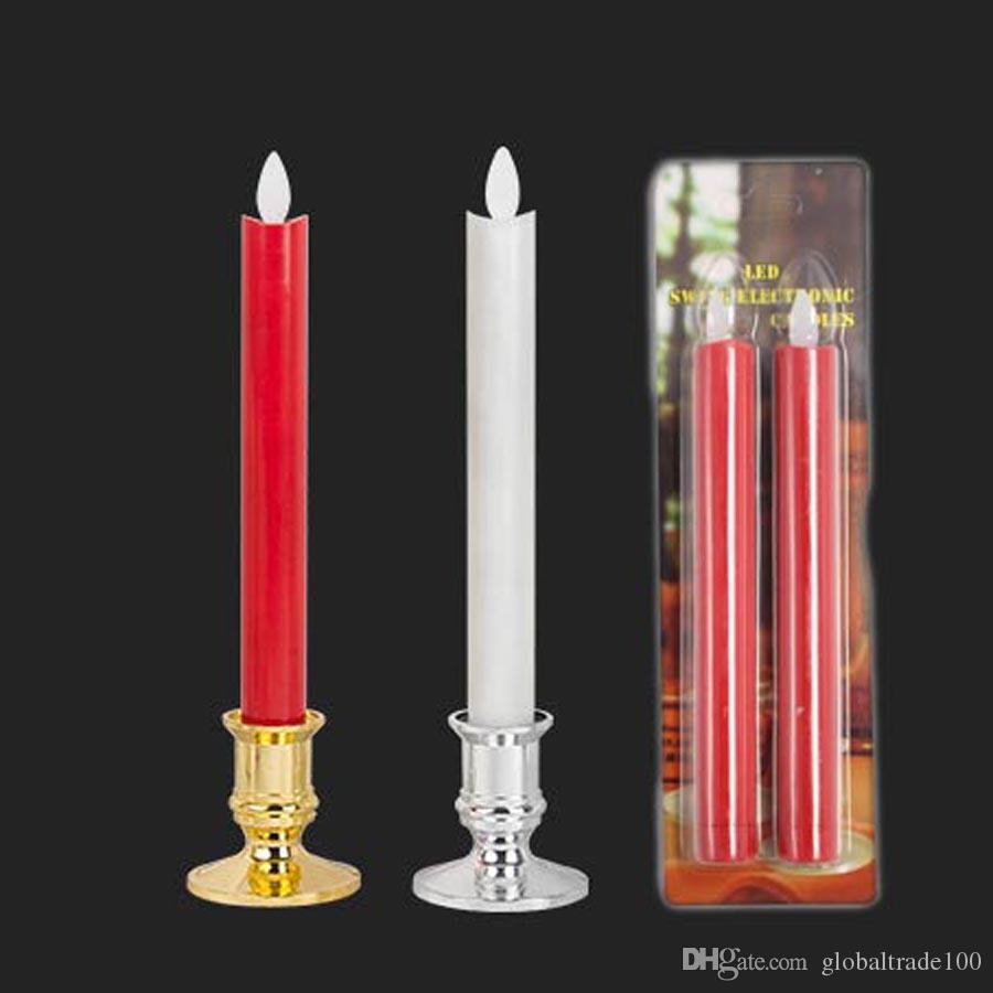 2pcs/lot Moving Wick Flameless LED Candlestick Long Taper Candle Dancing Flame with Remote Control for Christmas Wedding Decor Lights