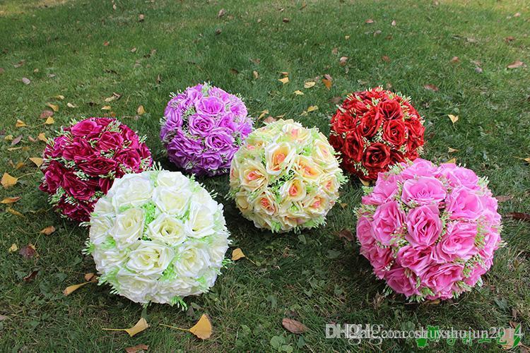 """10 """"/ 25 cm人工ローズシルクフラワーキスボールの美しい星のぶら下がっている花のボールウェディングクリスマスの飾りパーティーの装飾"""