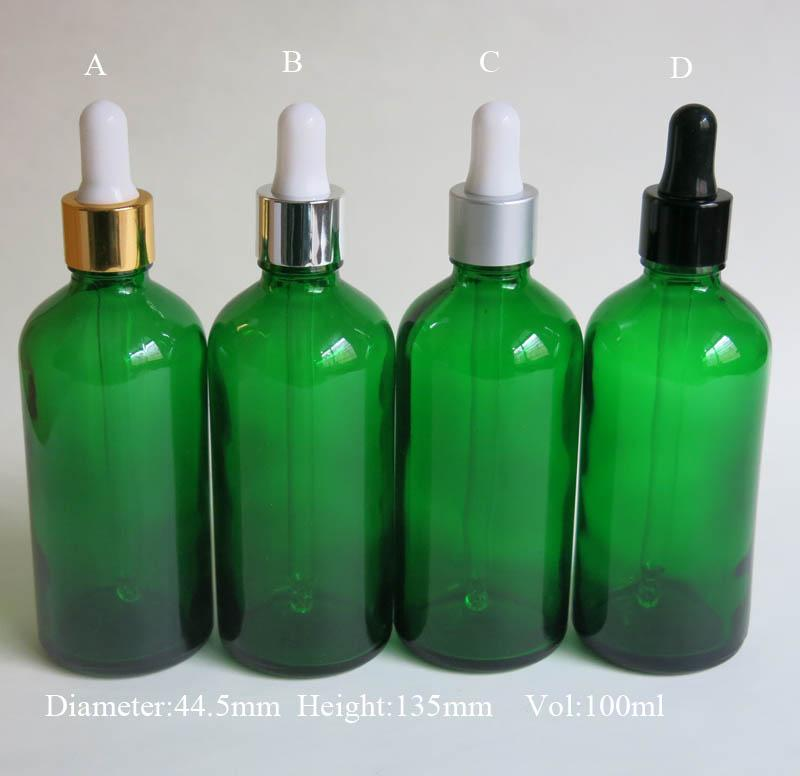 도매 10 PC / Lot 100ML 녹색 유리 시약 액체 피펫 병 아이 dropper 드롭 아로마 테라피, 에센셜 오일 병