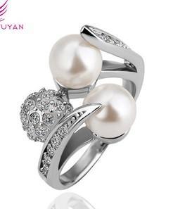 perle diamant argent bague de dame toutes les tailles (88) dfsd