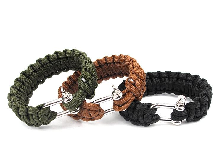10 PCS Cobra PARACORD BRACELETS KIT Military Emergency Survival Bracelet Charm Bracelets Unisex U buckle 3 Colors