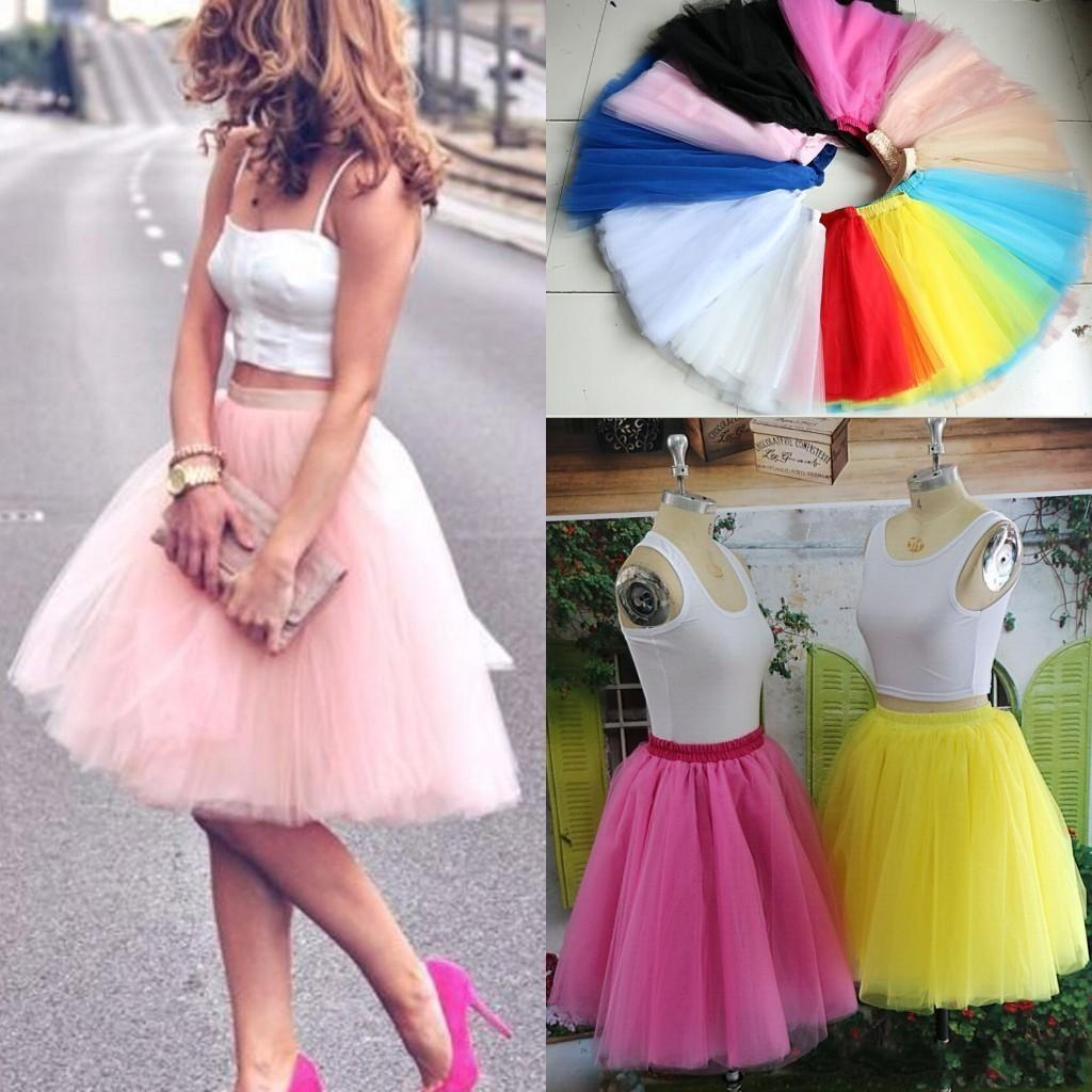 Real Image Knee Length Skirts Young Ladies Women Bust Skirts Adult Tutu Tulle Skirt A Line Ruffles Skirt Party Cocktail Dresses Summer