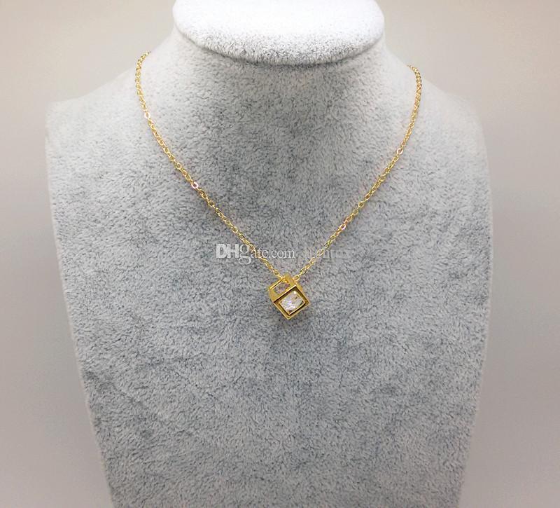 new trendy Rhinestone fashion magic cube necklace pendant chain ...