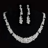 2015 New Arrival Bridal Necklace Sets Crystal Silver Tiaras Plants Necklace With Clip Ear Bridal Accessories