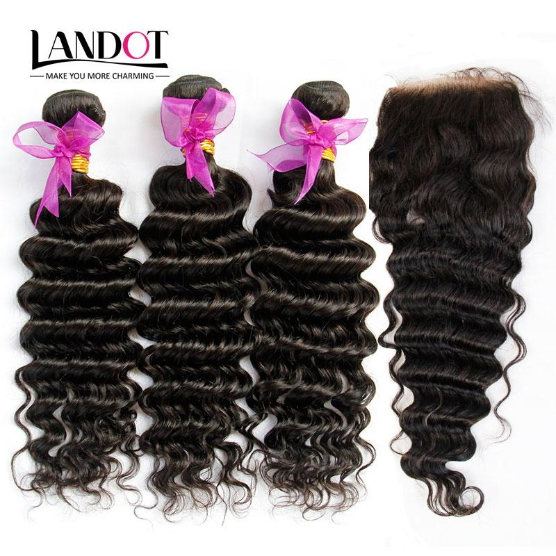 Eurasian Virgin Hair Deep Wave With Closure 7A Unprocessed Curly Human Hair Weave 3 Bundles And 1Piece Top Lace Closures Natural Black Wefts