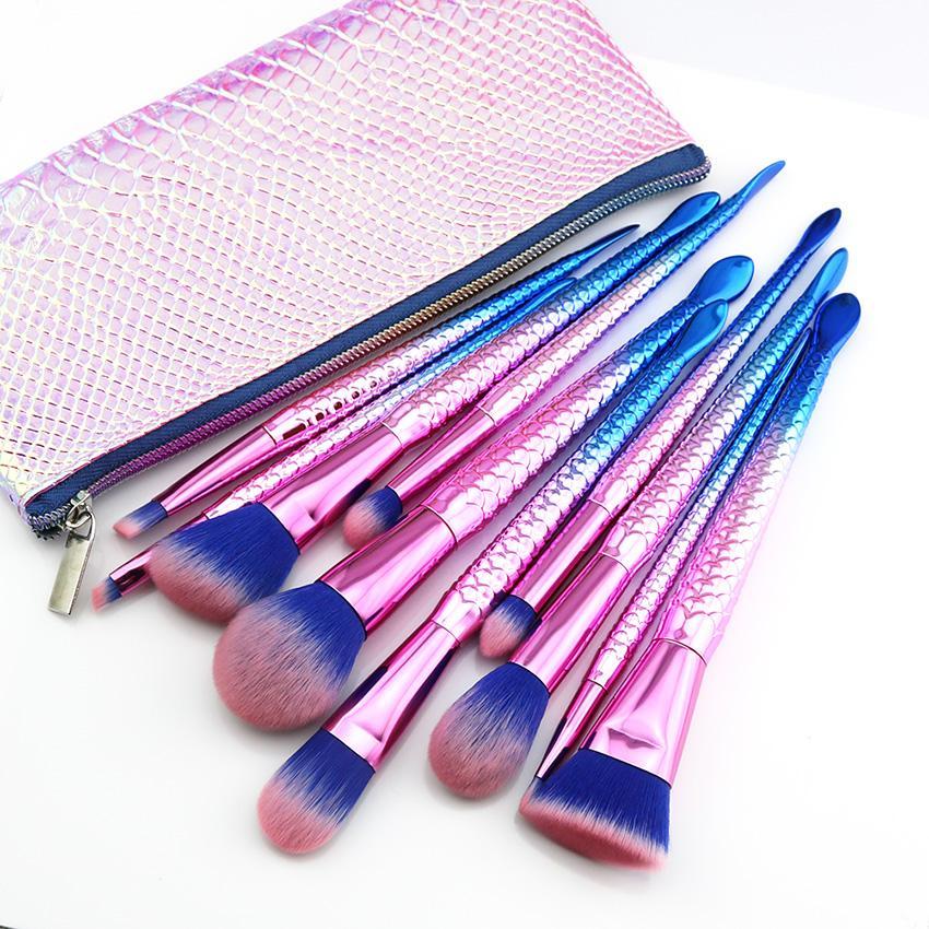 Sereia Maquiagem Brushes Set Pro 10 pcs Sobrancelha Delineador Blush Fundação Blending Cosméticos Beleza Make Up Peixe Escova Com Saco