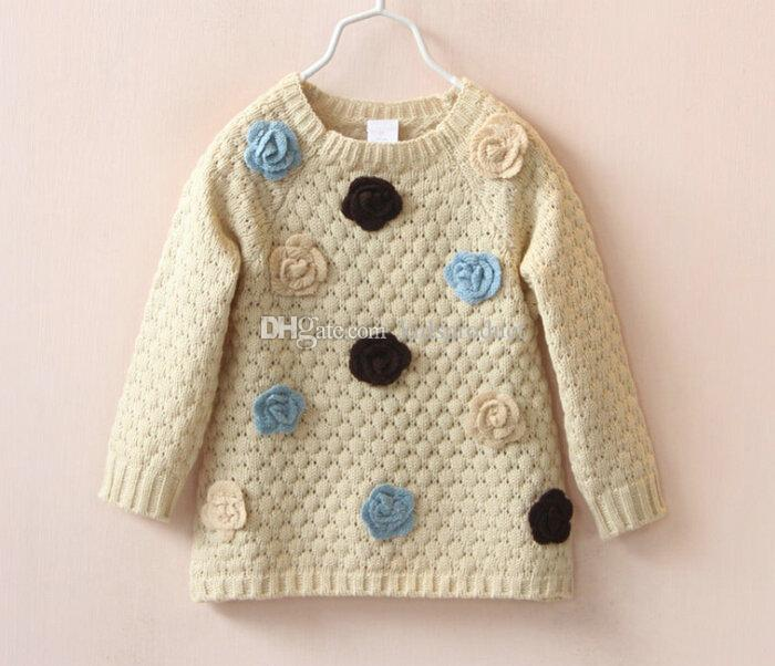 7c7b93e8ced7 2016 Autumn Winter Girls Flowers Pullover Sweater Knitwear Kids Long  Sleeved Tops Sweaters Knitting Shirt Brown Beige Pullover Sweater Patterns  For Boys ...