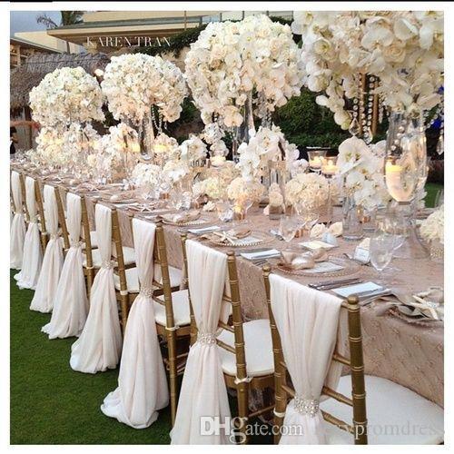 Romantique En Mousseline De Soie Anniversaire De Mariage Président Sash Party Banquet Décorations 20 Pièces / Ensemble De Chaise De Mariage Sash 150cmx50cm