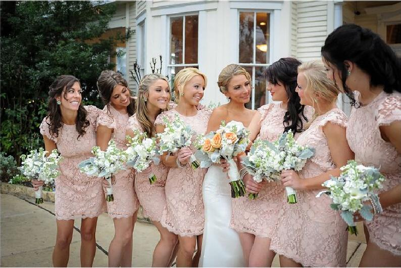 Sheath Short Lace Bridesmaid Dresses Backless Maid of Honor Dress with Capped Sleeves Wedding Party Dresses Prom Gowns 2015