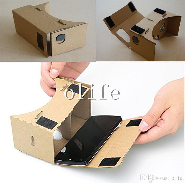 DIY Google Karton VR Cep Telefonu Sanal Gerçeklik 3D Görüntüleme Gözlük iphone 6 6 S Artı 5 S Samsung S6 S7 Edge Nexus 6 Android