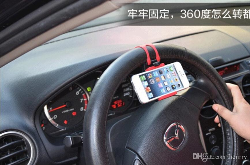 100PCS Car Cell Phone Holder Steering Bracket Steering Wheel Steering Wheel Holder Mobile Cell Phone Navigation