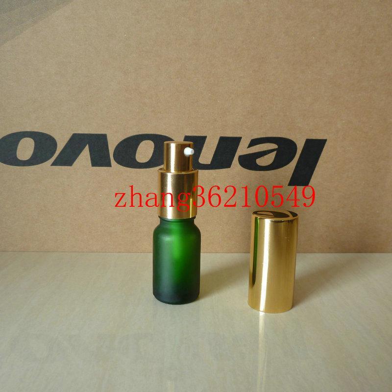 10ml 녹색 서리로 덥은 유리 로션 병 알루미늄 반짝 이는 골드 pump.for 로션과 에센셜 오일. 로션 용기