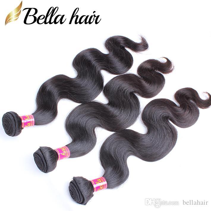 Bellahair 100%ブラジルの髪の伸びのバージンの髪の織り3pcs /ロット人間の髪の束体体波ドロップ輸送
