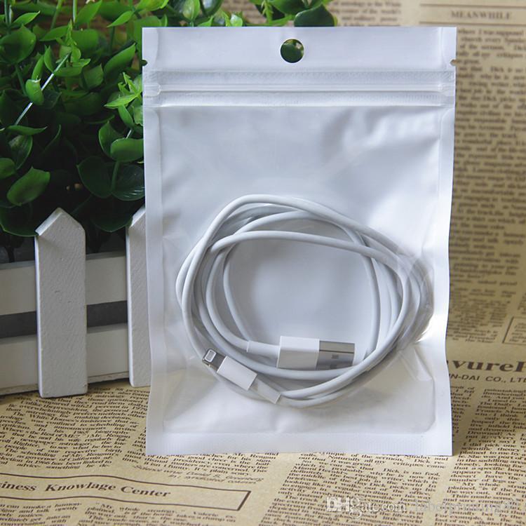 8 * 13cm 100pcs / sac de téléphone cas de beaucoup sac paquet blanc sac à fermeture auto-joint clair avec trou de suspension