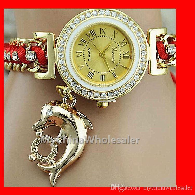 빈티지 손목 시계 시계 소녀 나일론 팔찌 돌고래 펜던트 패브릭 스트랩 캐주얼 시계 아날로그 크리스탈 금속 체인 석영 여성 시계