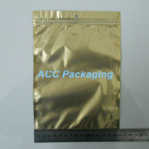 "Wholesale 16x24cm(6.3 ""x9.4"")ゴールデン/クリアセルフシールジッパープラスチック小売パッケージ包装袋杭付き穴付きジッパーロックバッグパッキング"
