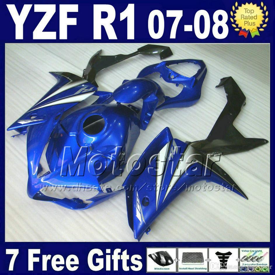 Blue Body Kit ل Yamaha R1 Fleading 2008 2008 حقن صب أجزاء بلاستيكية 07 08 YZF R1 Fairings Kits دراجة نارية L25B