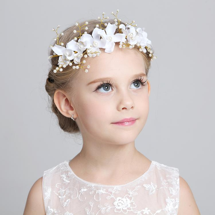 Affascinanti Bambini carini Bambini Veil Veils Pezzi per abbinare il fiore ragazza Abiti 2015 Bianco rosa principessa Garland Flower Girl Girl Fascia per matrimonio