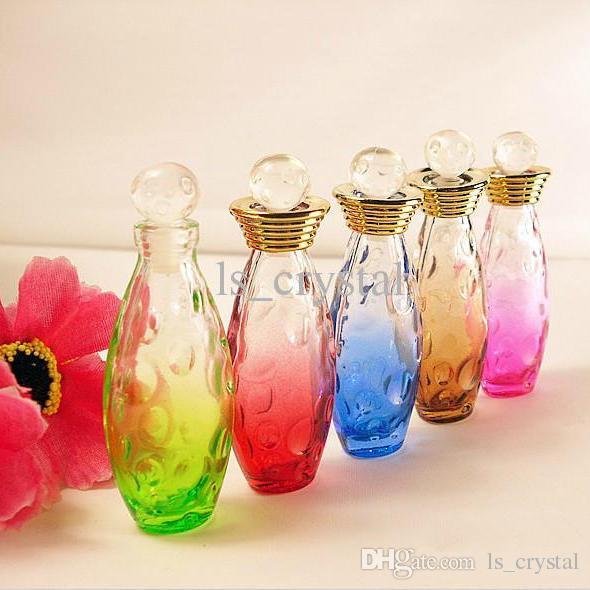 Collectible 5 ml Mini Glas Parfum Fles Kleur Ovaal Lege Geur Geur Fles Roller Deksels Hervulbare Essentiële Oil-injectieflacons 10 stks / partij