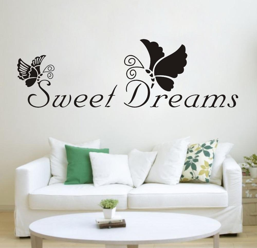 Black Butterfly Sweet Dreams Removable Vinyl Wall Sticker Decals Quote Living Room Bedroom Background Home Decor Free Shipping