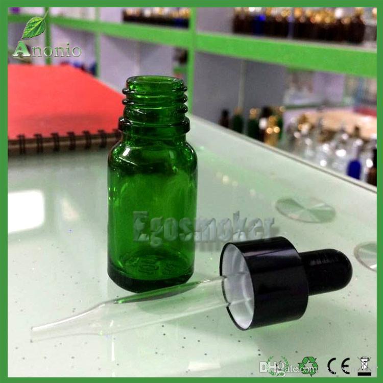 600pcs 5ml 10ml 15ml 50ml 30ml Glass Bottles E Liquid EJuice Bottles Green Dropper Bottle With Black Childproof Rubber Cap