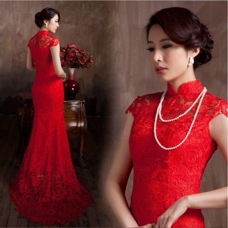 الدانتيل المواد أحمر اللون الفاخرة الصينية التقليدية اللباس تشيباو حورية البحر فستان الزفاف 2020 vestido دي noiva
