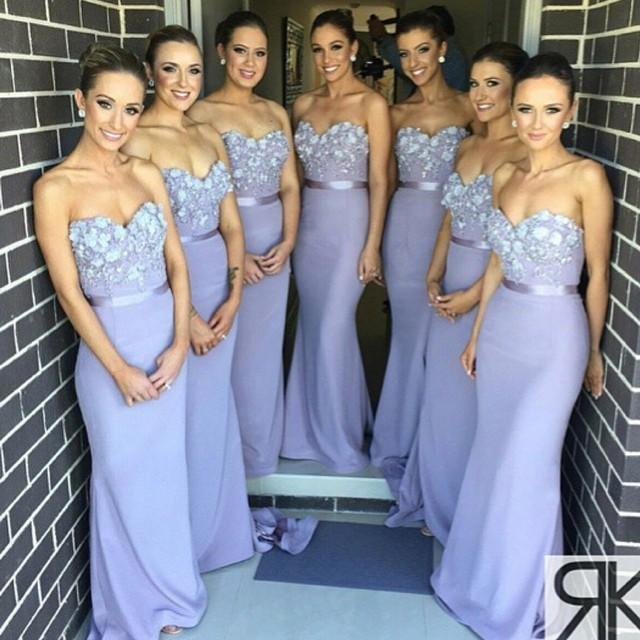2019 Lavender Strapless Long Bridesmaid Dresses Ruched/Ruffles Mermaid Floor Length Long Maid Of Honor Dresses Formal Dress