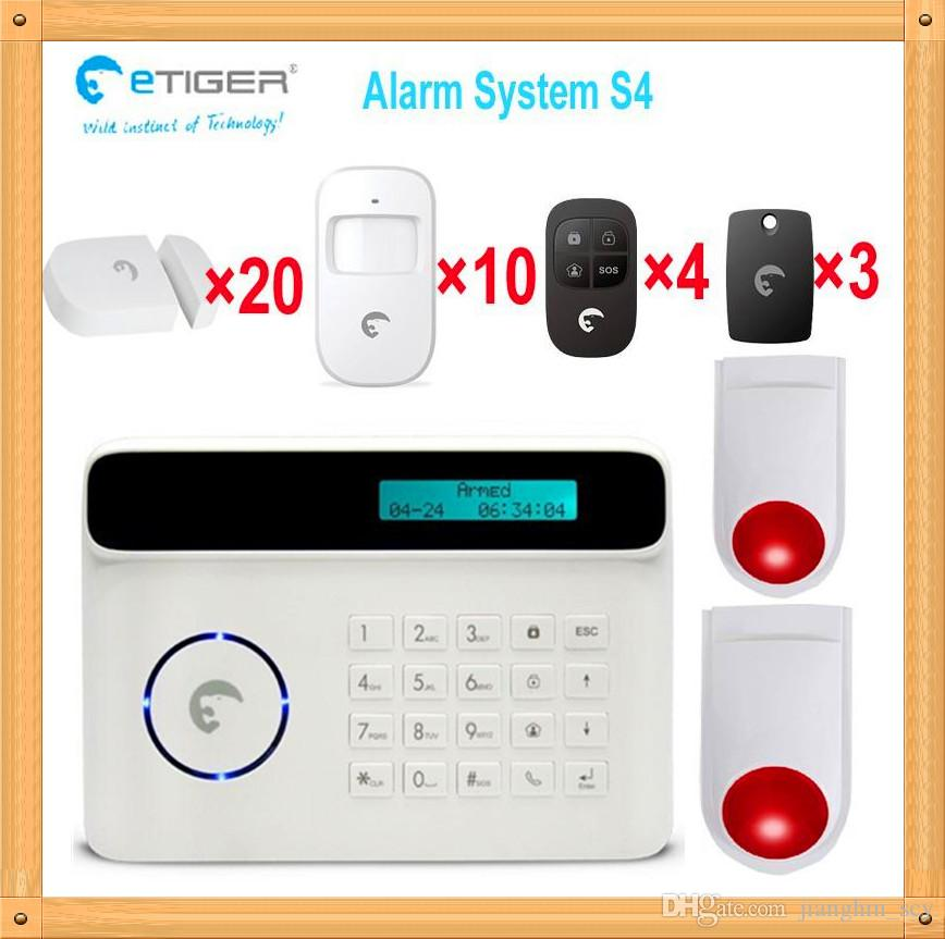 Free shipping DHL, 2 wireless outdoor alarm flashing siren home security kit alarm gsm for big country house etiger S4