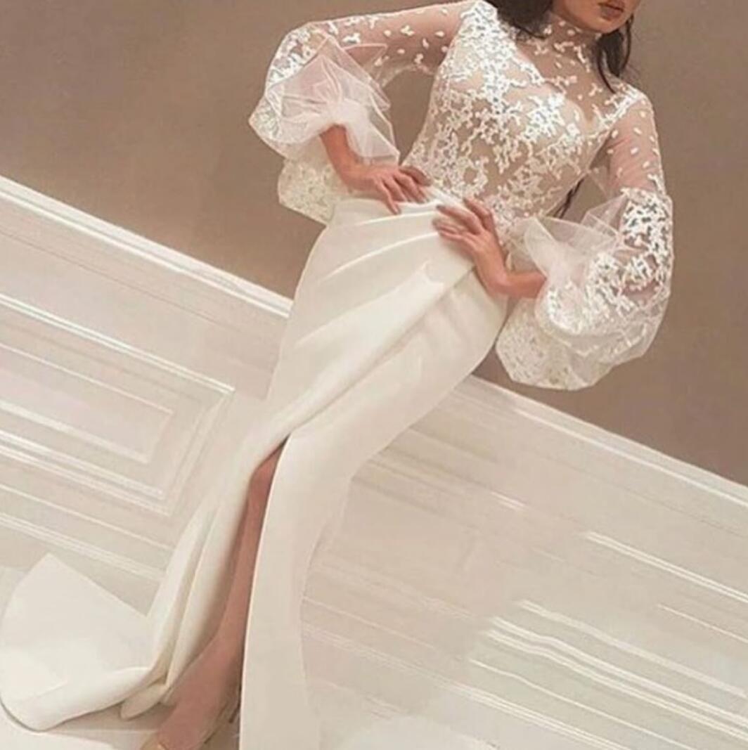 2019 Neueste Abendkleider High Neck Spitze Appliques Lange Große Sleeve Side Schlitze Weiß Arabische Meerjungfrau Prom Formale Kleider ED2301
