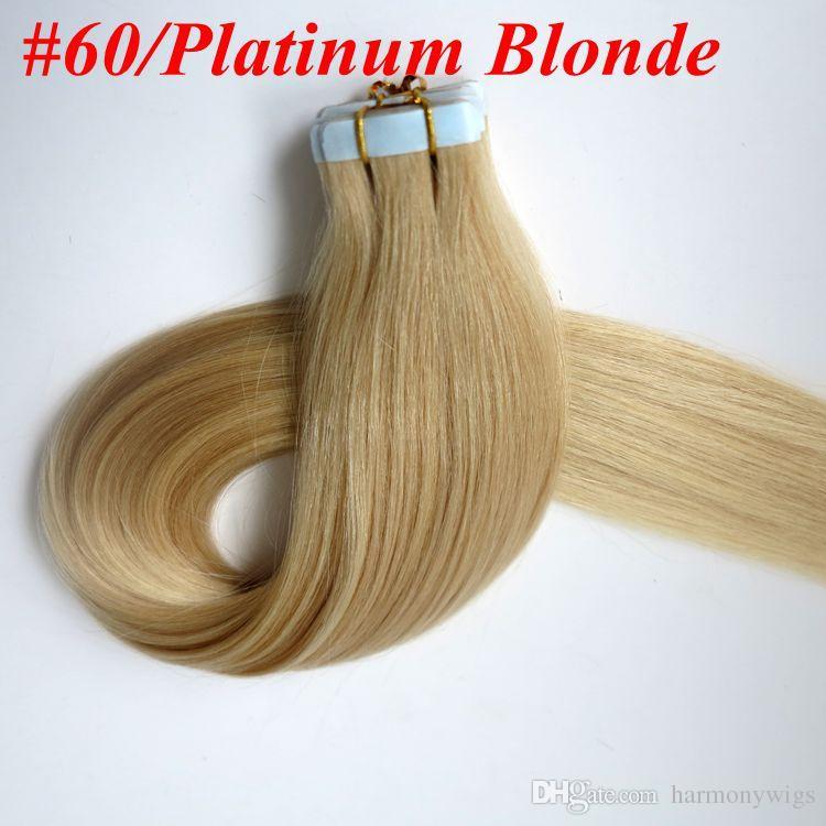 100g 40pcs/Pack Tape hair extensions 100% Human hair 18 20 22 24inch 60#/Platinum Blonde Glue Skin Weft human Hair extension
