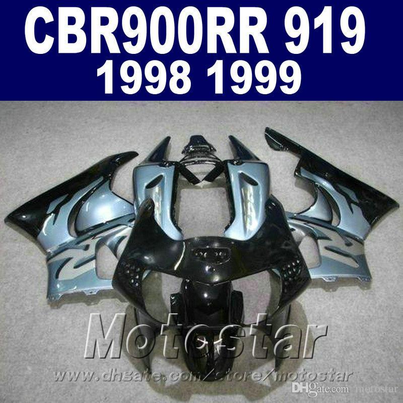 ABS Plastic fairing kit for Honda CBR900RR 1998 1999 black blue fairings set CBR 900 RR CBR919 98 99 bodykits QD80