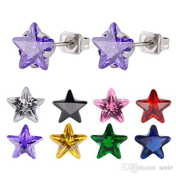 Mode 8mm fünfzackigen Stern Zirkon Kristall Titan Stahl Ohrstecker Silber Edelstahl Ohrringe für Frauen Schmuck